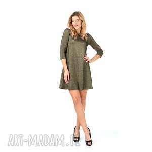 sukienka złota z rękawem 3/4 rozmiar 40, złota, mini, brokatowa, brokat