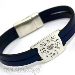 bransoletka skóra magnetoos duall heart navy blue, skóra, cyna, przekładka, serce
