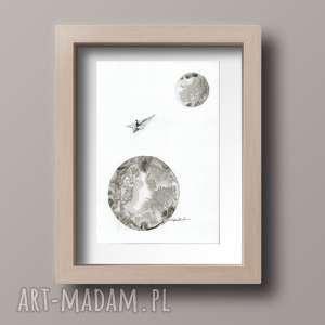 obrazek a4 malowany ręcznie, minimalizm, abstrakcja czarno-biała