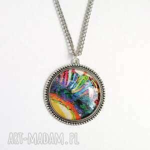 medalion, naszyjnik - kolorowy duży, naszyjnik, wisiorek, grafika