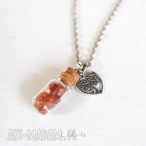 naszyjnik - karneol szklana fiolka, naszyjnik, karneol, minerał, medalion