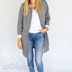 płaszcz długi narzutka S - M szary melanż, bawełna, dzianina, wiosna,