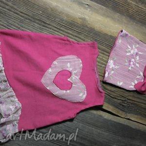 hand-made różowy komplecik - 9 -12 msc-sesja foto