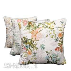 majunto komplet 3 poduszek velvet kwiaty 45x45cm, poduszek, romantyczne