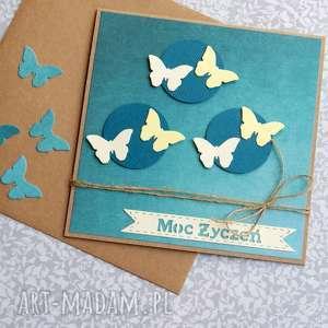 kartki motylki moc ŻyczeŃ teal, ślub, imieniny, urodziny, uniwersalna, motyle