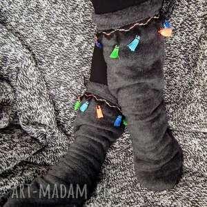 ocieplacze na stopy z frędzlami, ocieplacz, buty, ciapy, polarowe, grube