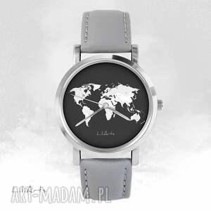 Prezent Zegarek - Mapa świata szary, skórzany, zegarek, bransoletka, mapa