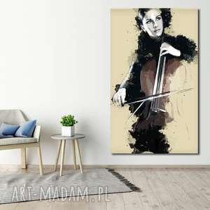 obrazy obraz xxl kobieta z wiolonczelą 1 -70x120cm na płótnie muzyka