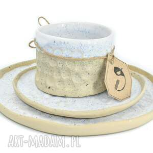 biały zestaw ceramiczny - 3 części, kamionka, zastawa stołowa, talerz, czarka