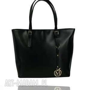 Duża torba w miejskim stylu- klamerki CZARNA , torebka, torba, kuferek, miejska