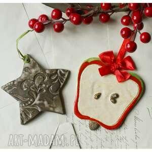 zestaw mikołąjkowy xii, ceramika, jabłko, gwiazdka, święta, mikołajki