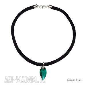Prosty design - naszyjnik z liściem, liść, listek, emerald, elegancki, lekki