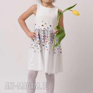 Sukienka dziecięca MARIPOSA, rozkloszowana, tiul, mamaicórka, motylki, sukienka