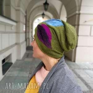 czapka wełniana filcowana zielona na podszewce, zimowa, czapka, etno, boho, merynosy,
