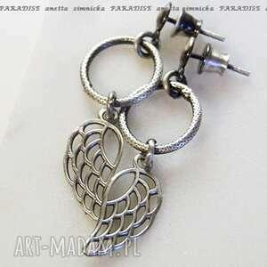 srebro, kolczyki - srebrne aniołki, seria paradise, skrzydła, koła