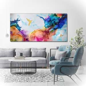 obraz do salonu - kolibry w tęczowej mgle - abstrakcja ręcznie malowana