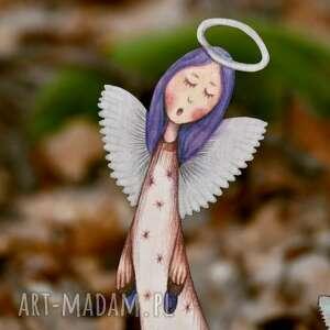 anioł w gwiazdki v - dekor ścienny, dekoracja na ścianę, chrzest komunia