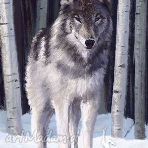 obrazy obraz wilk - skandynawski płótno, obraz, wilk, malowany, prezent