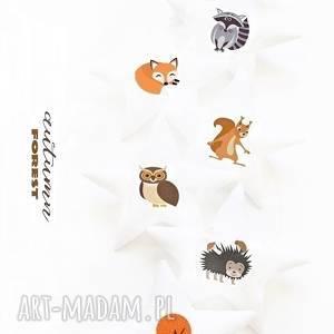 autumn animals - girlanda jesienne zwierzęta, girlanda, gwiazdki, zwierzęta