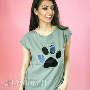 T-shirt bawełniany z łapką koszulka KHAKI ROZMIARY S-XL, naklejka, bawełna