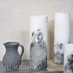 świeca z betonem - duża, świeca, loft, romantyczna, dekoracja, salon, wieczór