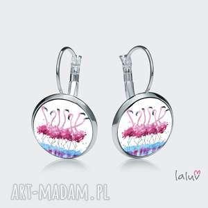 kolczyki wiszące flamingi, prezent, kolorowe, różowe, ptaki, egzotyczne kolczyki