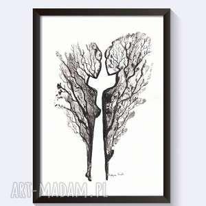 plakaty abstrakcja tuszem 21x30 a4 rysunek body flowers, grafika-czarno-biała