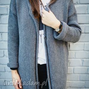 Luźny rozpinany sweter, rozpinany, kardigan, wełna