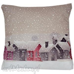 poduszki poduszka dekoracyjna domki, dekoracyjna, zimowa, świąteczna, niepowtarzalna