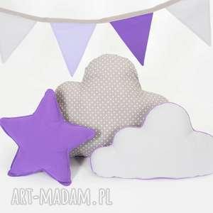 zestaw 3 poduch fioletowo-szary, chmurka, gwiazdka, fioletowa