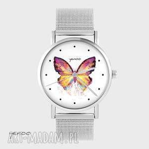ręczne wykonanie zegarki zegarek, bransoletka - kolorowy motyl metalowy