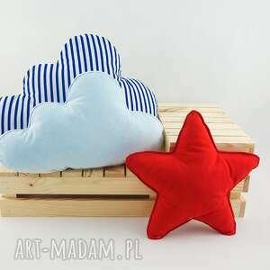 zestaw 3 poduch marynarski, czerwona poduszka, gwiazdka, chmurka