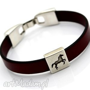 hand made bransoletka skórzana joyee horse bordeaux