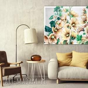 obraz do salonu drukowany na płótnie z kwiatami różowe malwy ciemnej zieleni