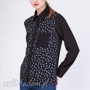 koszula, k103 czarny piórka, elegancka, klasyczna, wyjątkowa, wyjściowa bluzki