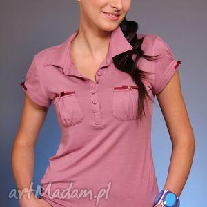 bluzki bluzka z kieszonkami i aplikacją, bluzka, kieszonka, polo, guziki