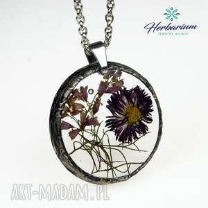 Naszyjnik z suszonymi kwiatami Herbarium, biżuteria żywicy 1190, naszyjnik