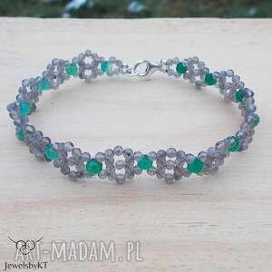 Szarości z zielenią - bransoletka jewelsbykt srebrna bransoletka