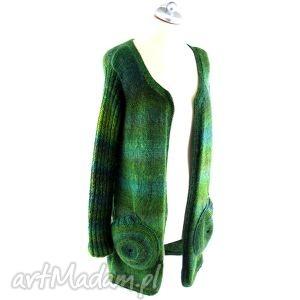 sweter w zieleniach z okrągłymi kieszeniami, sweter, płaszcz, płaszczyk, narzutka