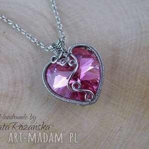 Wisiorek serce Swarovski Rose AB, wire wrapping, wisiorek, serce, swarovski