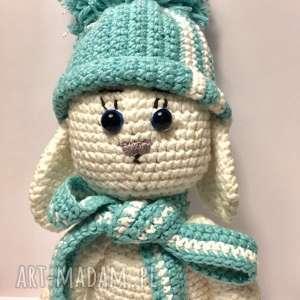handmade maskotki zimowy króliczek