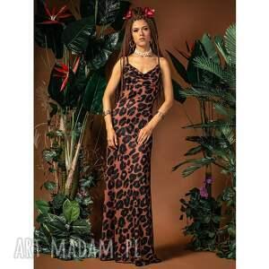sukienki jennifer maxi - suknia z dekoltem wodą, długa, maxi, panterkowa