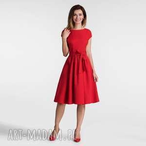 sukienka marie midi czerwień, sukienka, midi, rozkloszowana, pasek