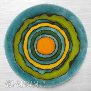 dekoracyjny talerz pełen koloru, talerz, patera, ceramiczna