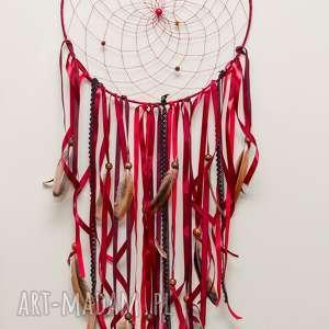 duży, czerwono-bordowo łapacz snów, dreamcatcher, snów, amulet, indian