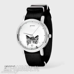 Prezent Zegarek, bransoletka - Kotek czarny, nato, zegarek, bransoletka, nato
