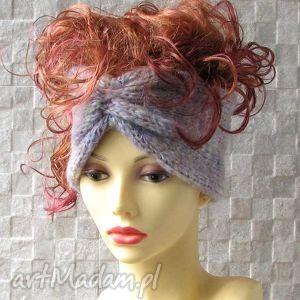 szeroka opoaska turban, opaska, turban, na drutach, ocieplacz