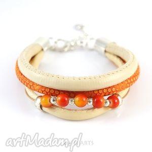bransoletki bransoletka - kremowa, pomarańczowa rzemienie, koraliki