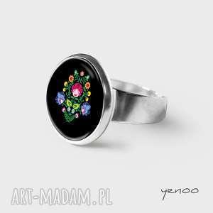 pierścionek - folkowy, czarny, pierścionek, grafika, regulowany, wzór