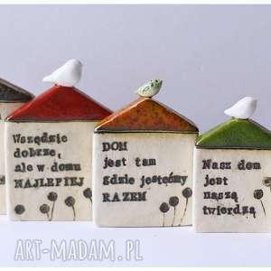 Komplet 5 domków z sentencjami, ceramika, domek, ptak